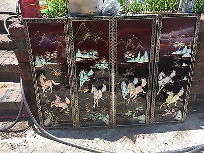 Rare Vtg Oriental Mother of Pearl Relief Horses Black Lacquer Wall Art  Screen