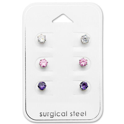 6 Piece Silver Cubic Zirconia Pink Purple Crystal Surgical Steel Stud Earrings
