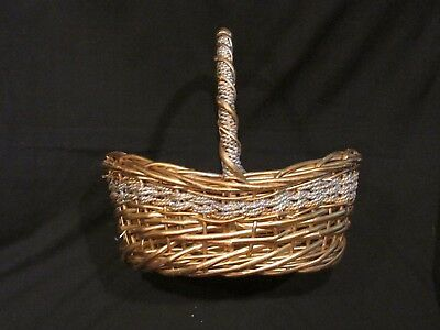 Wicker basket Gold woven straw glitter Easter gathering handle gift crafts fruit