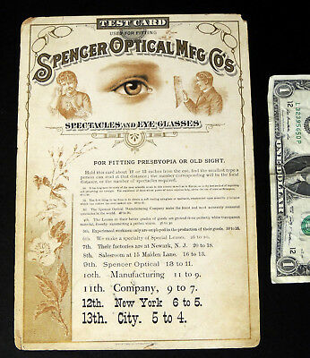 Antique Victorian SPECTACLES Glasses Trade Card EYE TEST CHART Spencer Optical