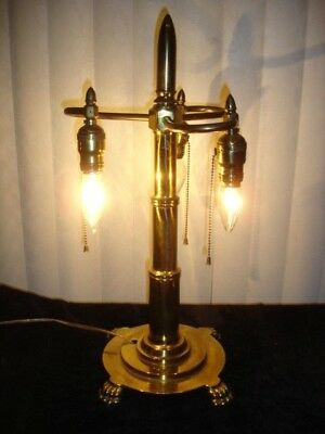 Solid Brass Paw Feet Lamp W/3 Pull Chains Sockets.