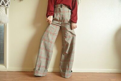 Bobbie Brooks Plaid High Waisted Elephant Bell Bottoms Tartan 70s RARE
