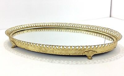 Vintage Oval Gold Raised Mirrored Trinket Jewelry Dish Plate Bourdieu Makeup