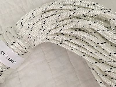 """1/4""""x100 ft double braid polyester rope White black tracers Flag pole Halyard"""