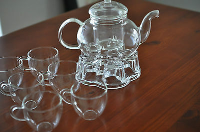 Glass Teapot set with 6 Cups and Teapot Warmer Stand Great gift for Tea Lovers