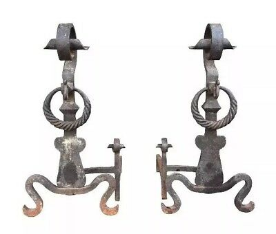 """Substantial 39"""" 19th C. Antique Hand Wrought Iron Andirons Set, Lodge Quality"""