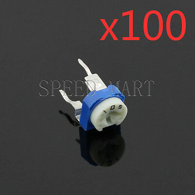 100 PCS 1M Blue White Adjustable Resistor Resistance 105