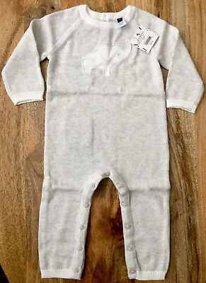 Nwt Janie And Jack Baby Gray Elephant Knit Onepiece, 12-18 Months Holidays