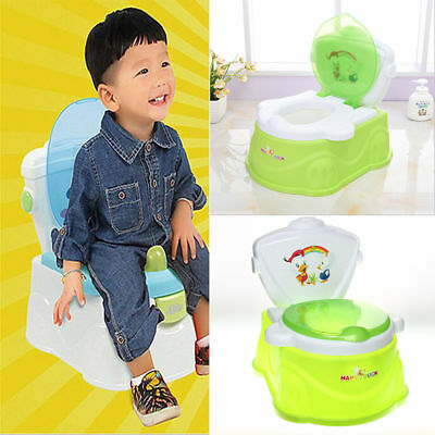 2 in 1 Toddler Potty Training Seat Baby Kids Toilet Urinal Trainer Chair Green