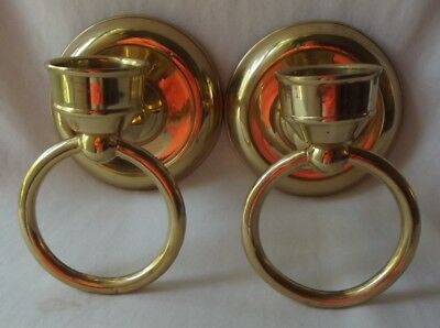 Pair Of Vintage Heavy Solid Brass Ring Candle Holder Wall Sconces