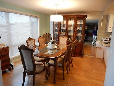 Solid Pecan Wood Dining Table 8 Chairs Buffet And China Cabinet By Bernhardt