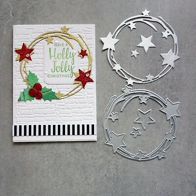 """CLEARANCE"" Shopaperartz SCRIBBLE CIRCLE OF STARS CHRISTMAS BIRTHDAY CUTTING DIE"