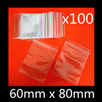 100 x Small Zip Lock Plastic Bags Reclosable Resealable Zipper Clear 6x8cm Thick