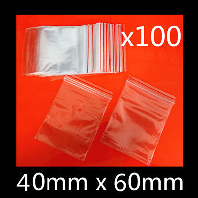 100 x Small Zip Lock Plastic Bags Reclosable Resealable Zipper Clear 4cm x 6cm