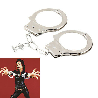 Police Handcuffs Silver STEEL Double Lock REAL Hand Cuffs w/ Keys Authentic New