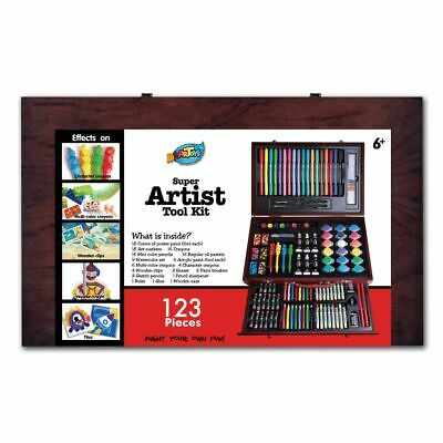 123pc Kids gift Deluxe Wooden Art Box Set Complete Art Paint Pencil Marker Great