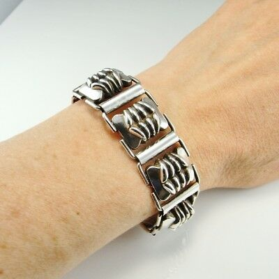 Art Deco Silver Bracelet Unisex Mens Ladies Machine Age 1920s 1930s Link Unique
