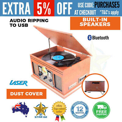 Vinyl Record Player Turntable with Cassette USB SD CD Player FM/AM and Stereo