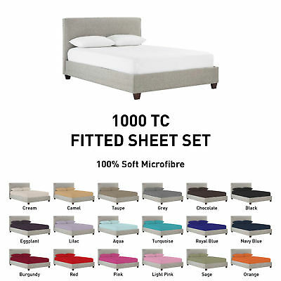 1000TC Microfiber Fitted Sheet Set [NO FLAT] Single/Double/Queen/King/Super b2