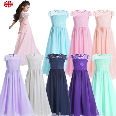 Girls Flower Lace Dress Bridesmaid Party Princess Prom Wedding Christening UK