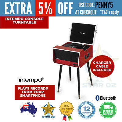 Vinyl Record Player Turntable with Bluetooth and Built-in Speakers Intempo Retro