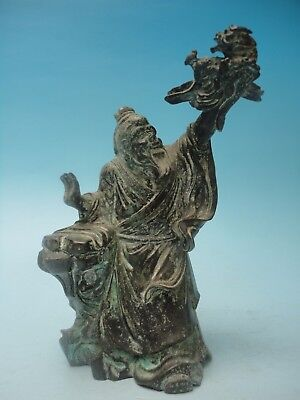 H6.2'' Collection Ancient China Rare Old Bronze Carved Dragon Buddha Decoration