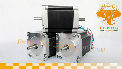 LONGS 3PCS Nema23 Stepper Motor 23HS8630B Dual Shaft 270oz-in 3.0A 76mm