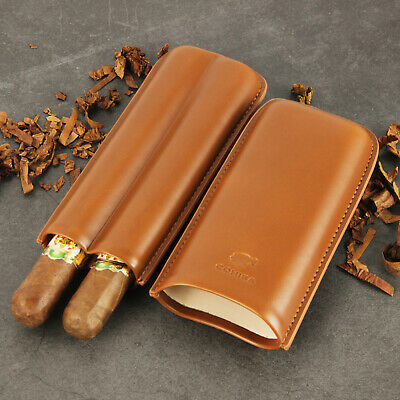 COHIBA Brown Genuine Leather Cigar Travel Holder Case 2 Count Gift Box