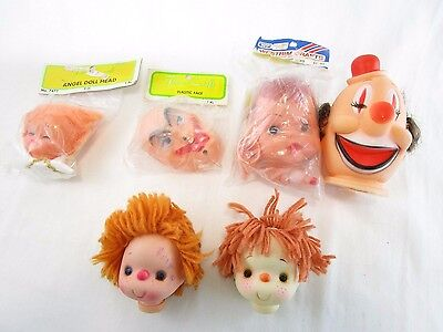 Doll Heads Faces Westrim Fibre Craft Angel Clown Baby Lot of 6 Vintage