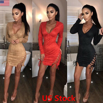 US Womens Lace Up Sexy Deep V Neck Low Cut Bodycon Cocktail Short Mini Dress