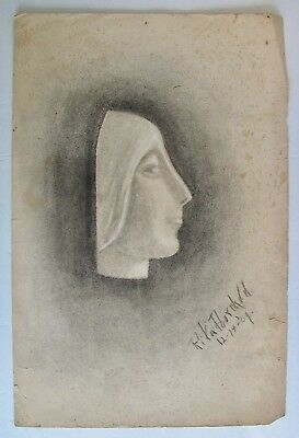 Antique 1910 Charcoal Art Signed Dated Woman's Face Drawing Artist Rita Poorman