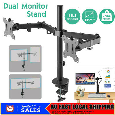 "13-27"" Dual Arm Monitor LED LCD Screen VESA Display Bracket Stand Desk Mount HOT"