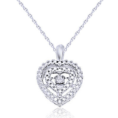 Natural Diamond Heart Halo Pendant Necklace 14k Gold Over 925 Sterling Silver