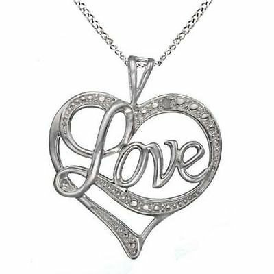 Natural Diamond Accent 'Love' Heart Pendant 14k Gold Over 925 Sterling Silver
