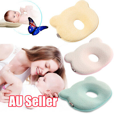 Baby Infant Newborn Memory Foam Pillow Prevent Flat Head Anti Roll Support BK