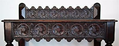 Antique English Oak Highly Carved Cottage Table With Bobbin Turned Legs Ca 1860