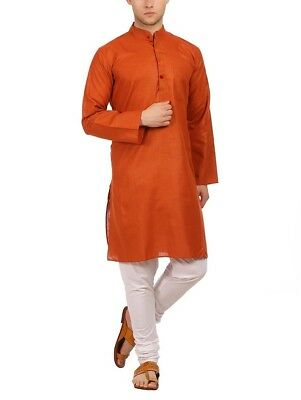 Traditional Indian Silk Blend Rust Orange Men's DIWALI kurta Pajama Ethnic Wear