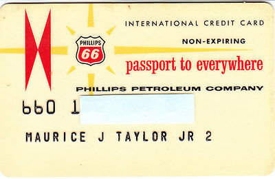 Vintage Phillips 66 International Credit Card Non-Expiring
