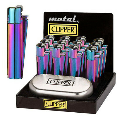 GENUINE CLIPPER METAL LIGHTER PURPLE OIL RAINBOW WITH GIFT CASE TIN  free p&p UK