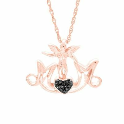 Round Natural Diamond Mom Heart Pendant 14k Rose Gold Over 925 Sterling Silver