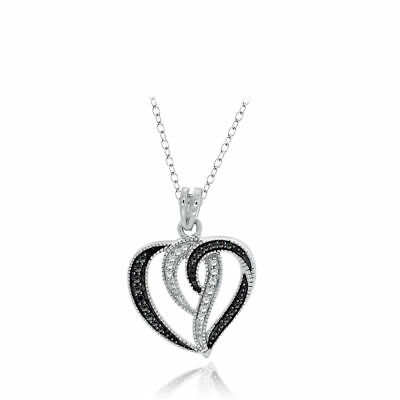 Round Black & White Real Diamond Accents Heart Swirl Pendant 925 Sterling Silver