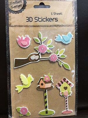 New - 3D Stickers - Bird And Bird Houses - 1 Sheet