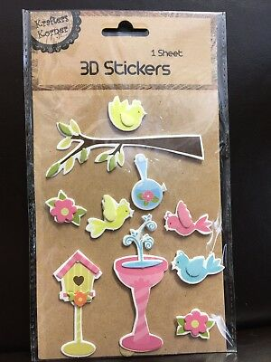 New - 3D Stickers - Birds - Bird Bath And Bird House - 1 Sheet