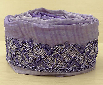 Vintage Indian Sari Border Hand Beaded Trim Sewing Purple 1YD Used Ribbon Lace