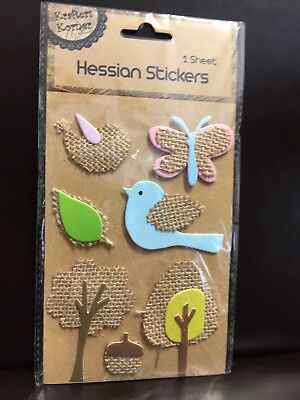 New - Hessian Stickers - Blue  Bird - Butterfly - Trees Etc - 1 Sheet
