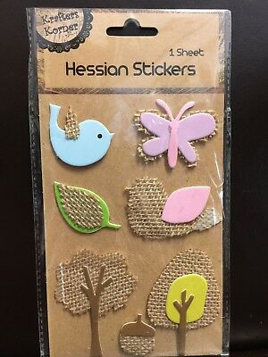 New - Hessian Stickers - Pink Butterfly - Blue Bird - Trees Etc - 1 Sheet