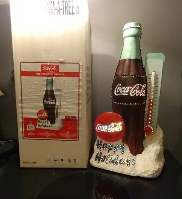 "Vintage Coca Cola 36"" Happy Holiday Fiber Optic Outdoor Resin Bottle Button Sign"