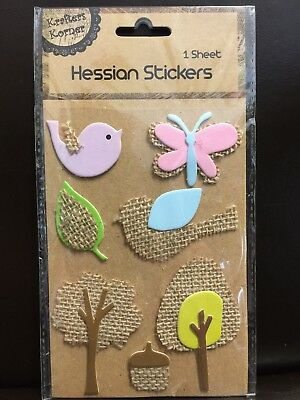 New - Hessian Stickers - Mauve Bird - Pink Butterfly - Trees Etc - 1 Sheet