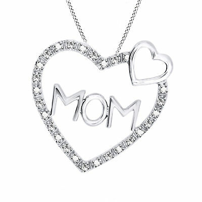 Round Natural Diamond Mom Heart Pendant 14k Gold Over 925 Sterling Silver