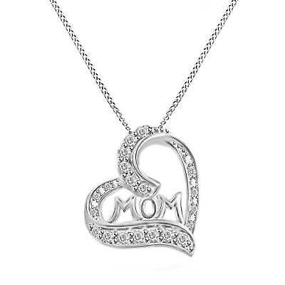 Round Natural Diamond Mom Heart Pendant 14k White Gold Over .925 Sterling Silver